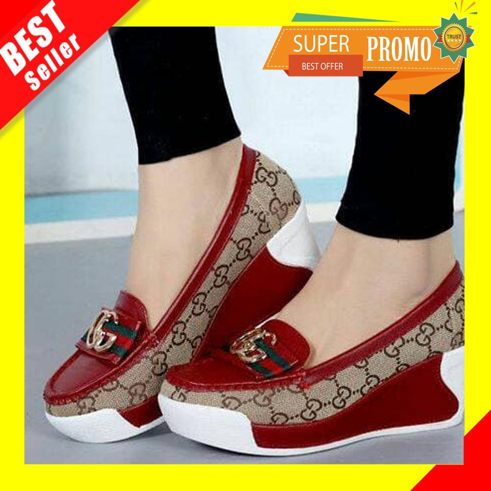 Sepatu Wedges Slip On Gucci - sandal wanita wedges murah wedges pesta sandal  wedges kasual wedges be08bf33ec