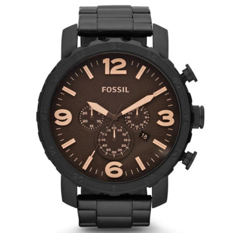 Diskon Fossil Nate Chronograph Jam Tangan Pria Hitam Stainless Steel Jr1356 Jawa Timur