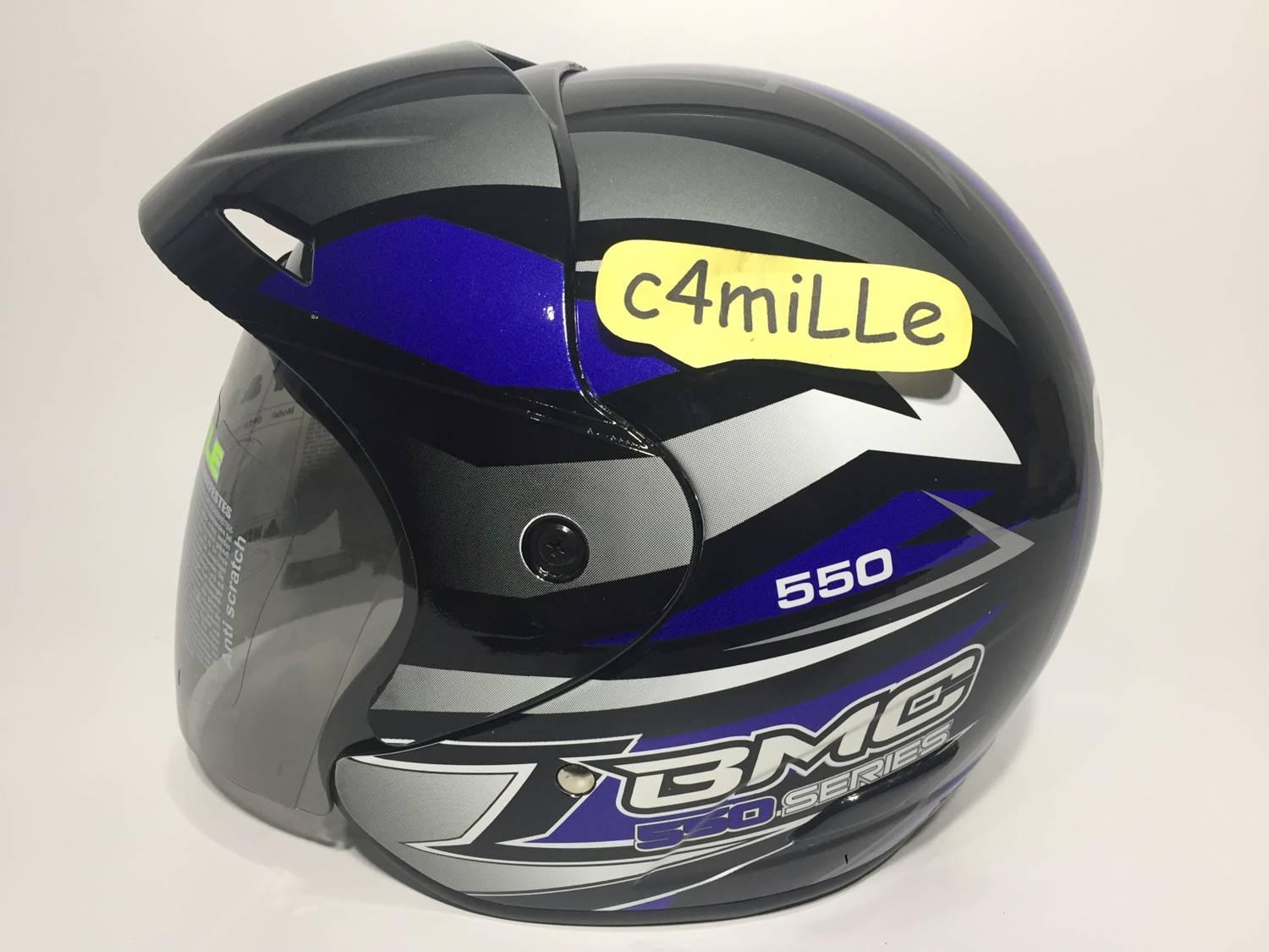 HELM BMC 560R #28 BLACK BLUE HALF FACE 560