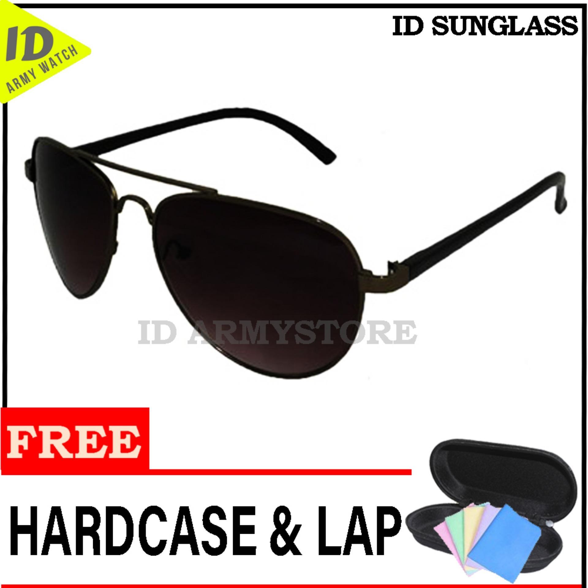 ID Sunglass - Kacamata Aviat Pria Wanita - Frame Hitam - Lensa Coklat SUN  1003- 58b4940c46