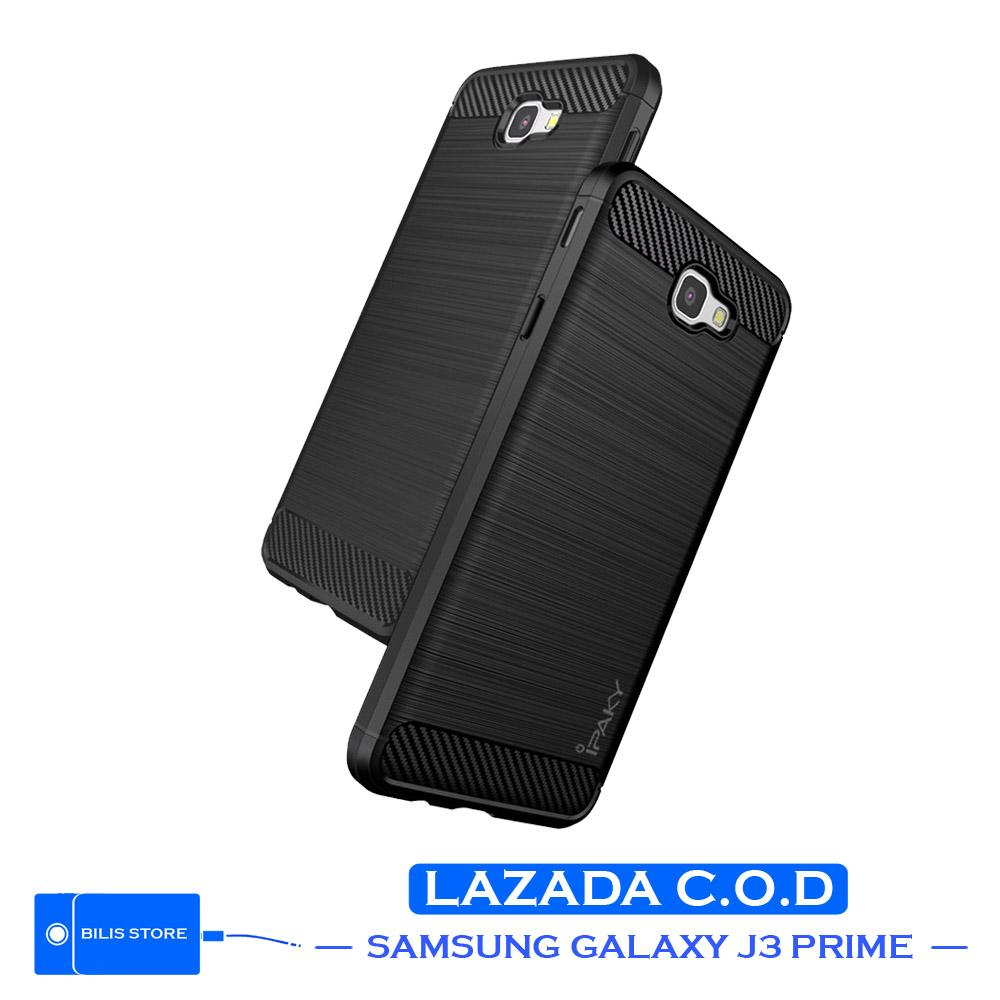 Case Ipaky Silikon Carbon Case Samsung Galaxy J3 Prime Casing Shockproof Black Color Brush Carbon Texture
