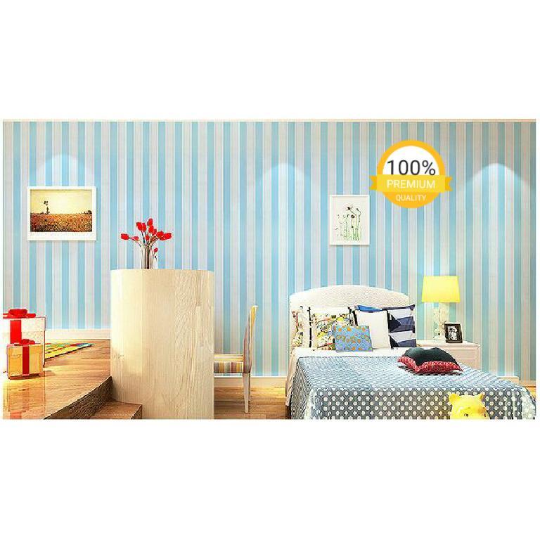 ... Grosir murah wallpaper sticker dinding kamar ruang indah garis biru putih - 3 ...