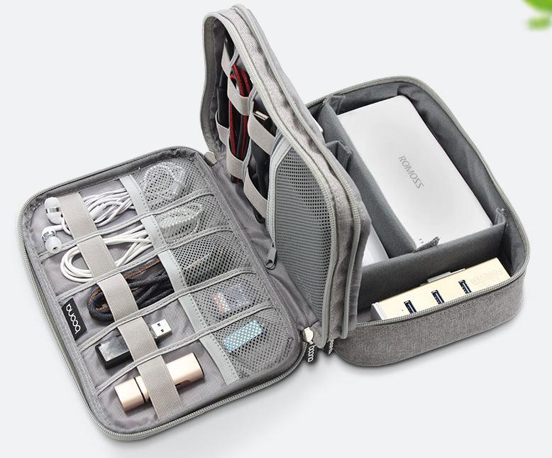Detail Gambar Tas Gadget Double Compartment untuk Smartphone Powerbank Kabel Data dll Terbaru