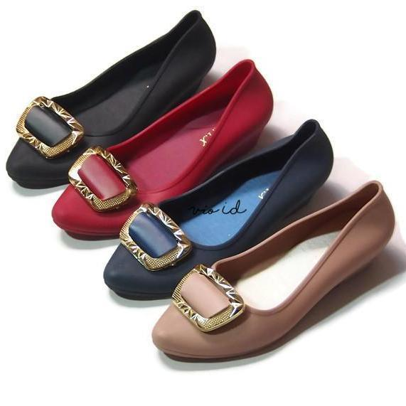 Jelly Shoes - Flat Shoes Jelly Hepihepi Wanita Aksen Prisma TG25