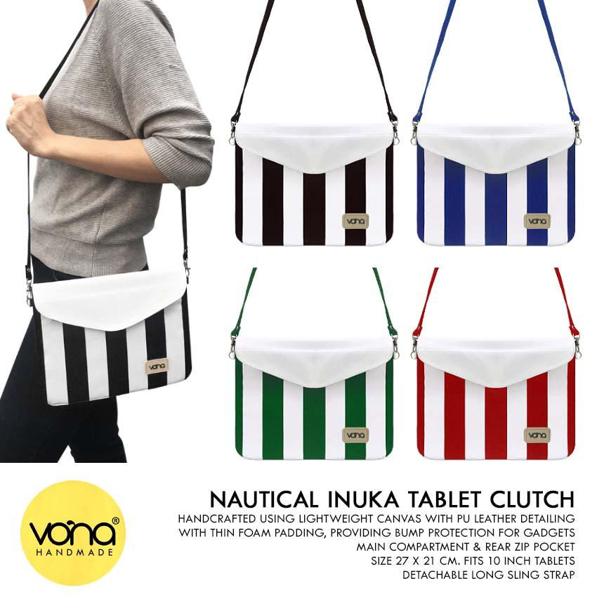 VONA Inuka (Hijau Putih) - Clutch Tas Selempang Kanvas Crossbody Sling Shouder Bag Ipad Tablet Case Sleeve Garis Strip