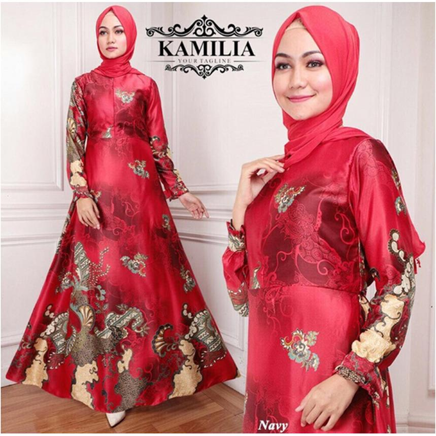 IndonesiaHeritage Gamis Syari Pesta Batik Sutra + Phasmina -  Kebaya Pesta Modern - Gaun Pesta Muslim - Mewah Elegan - Baju Kondangan Muslimah - Fashion Busana Muslim - ihkamelia