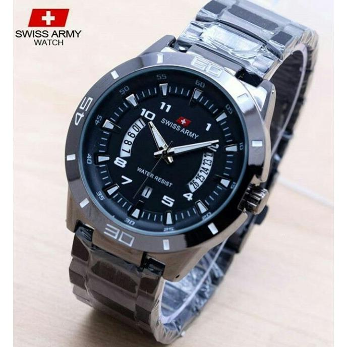 New Swiss Army Jam Tangan Pria Sports Fashion Casual Body Rantai Jarum Putih Original