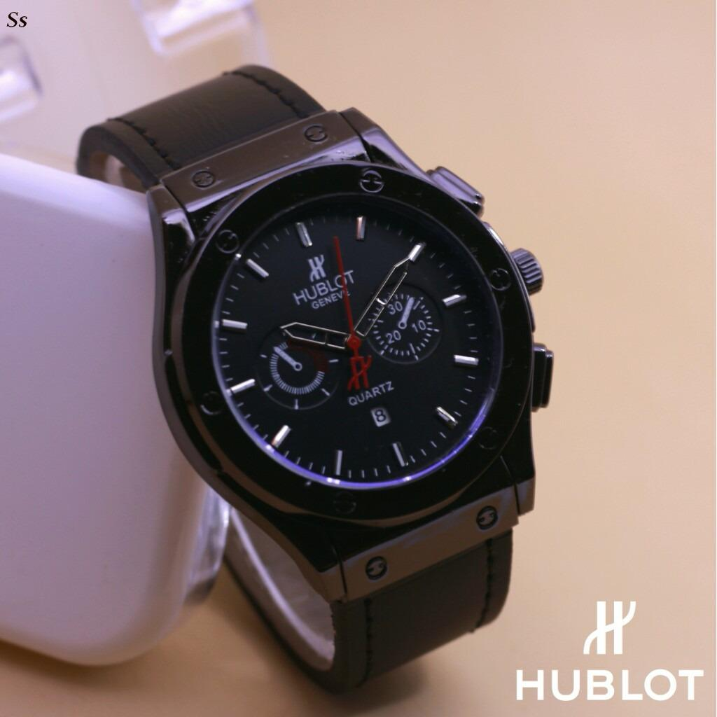 Jam Tangan Pria Casual Forma Dan Fashion Hublot Date On Rubber Strap Body Stainless Steel Terbaru