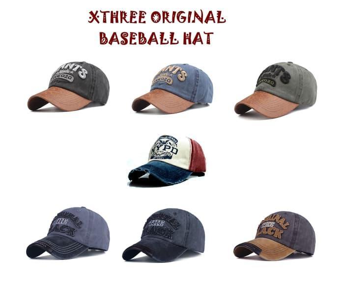 Topi Baseball Baseball Cap Baseball Hat - Xthree Original Branded -  ORIGINAL Black 38d054abef