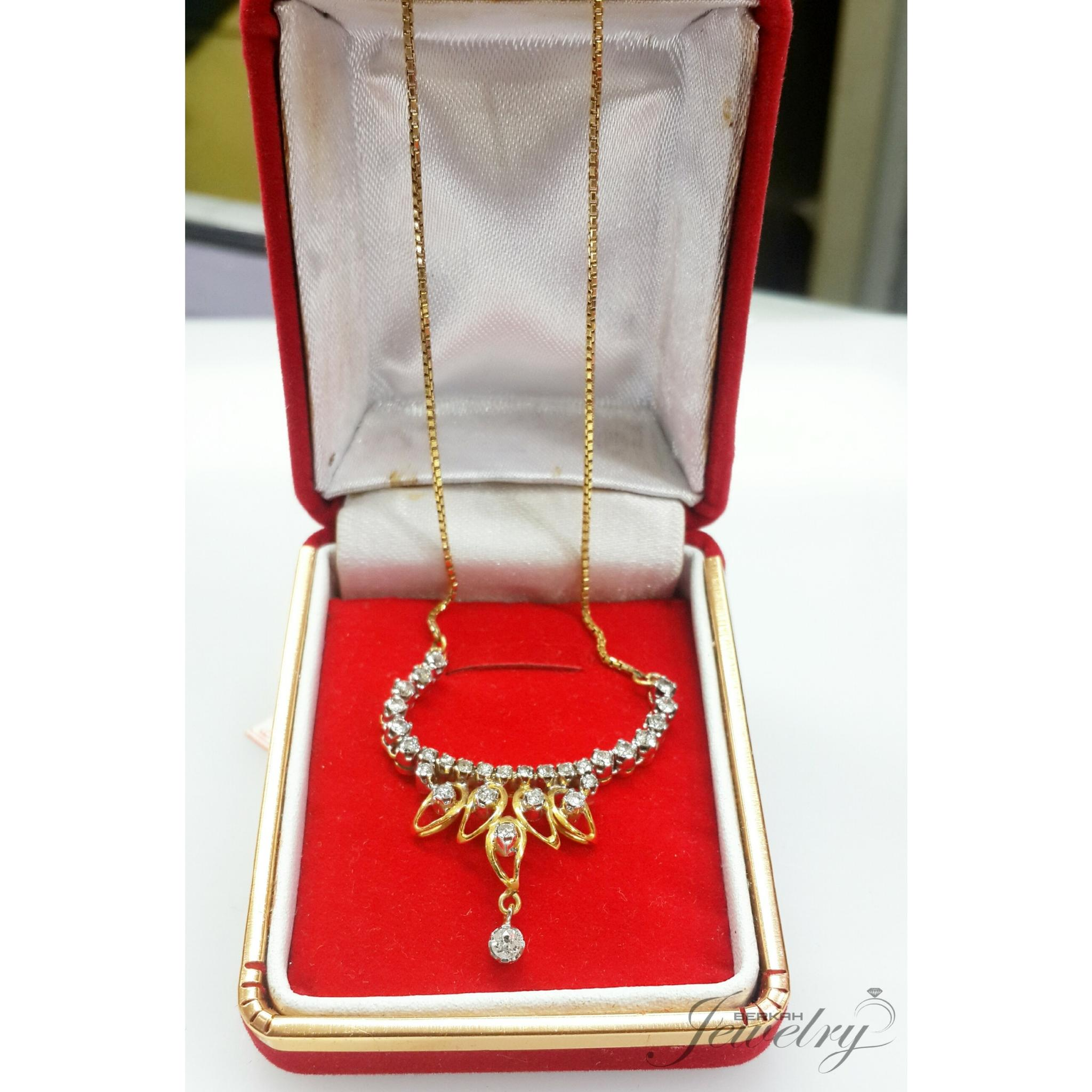 PALING MURAH Kalung BERLIAN Natural Diamond Ring Emas 50 %