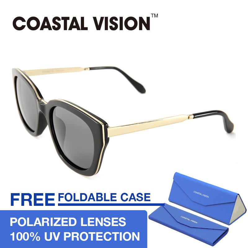 Harga Coastal Vision Kacamata Polarized Wanita Hitam Persegi Panjang Lensa Anti Uva B Cvs5048 Fullset Murah