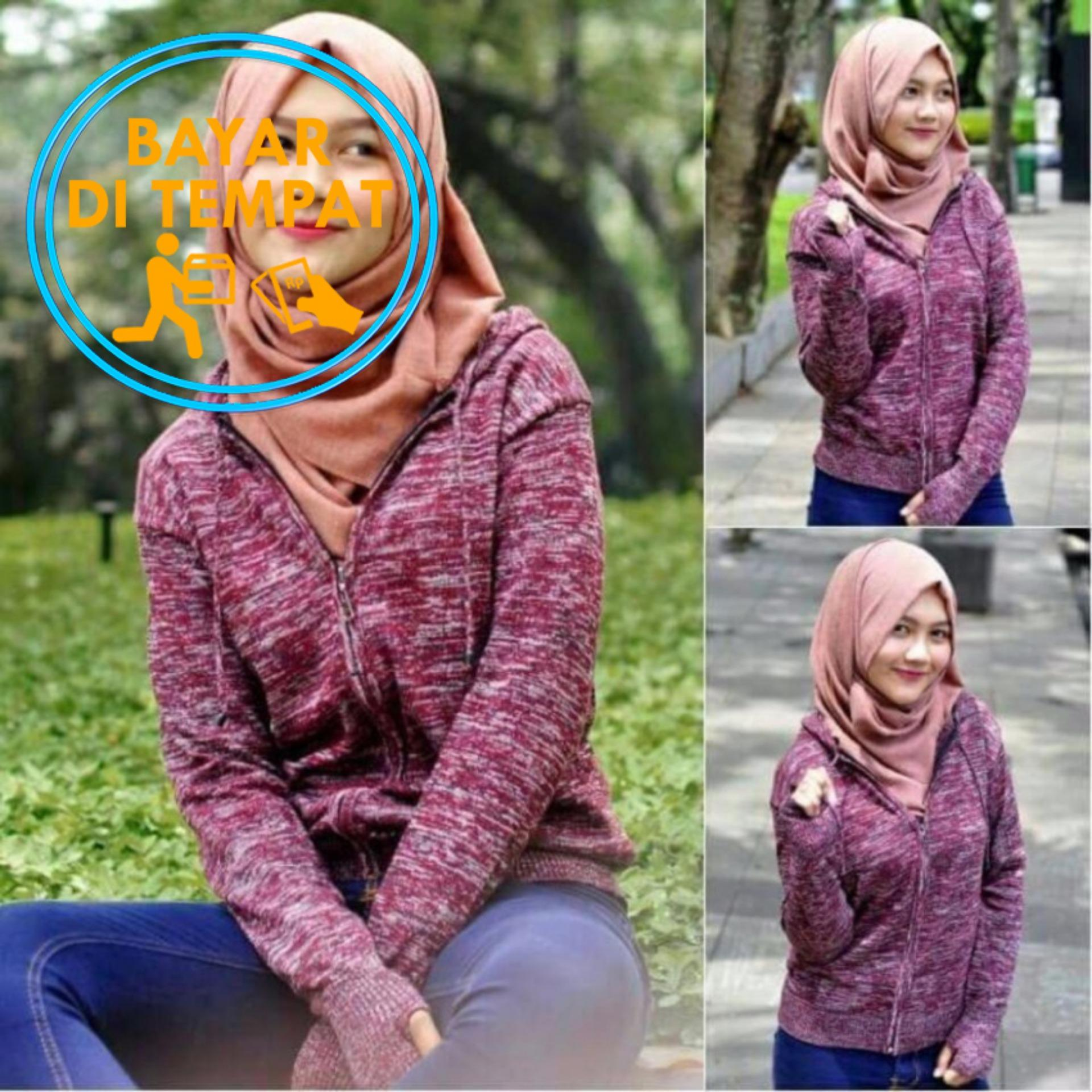 Jual Sweater Rajut Round Hand Wanita Maroon Twotone Jempol Bolong Termurah