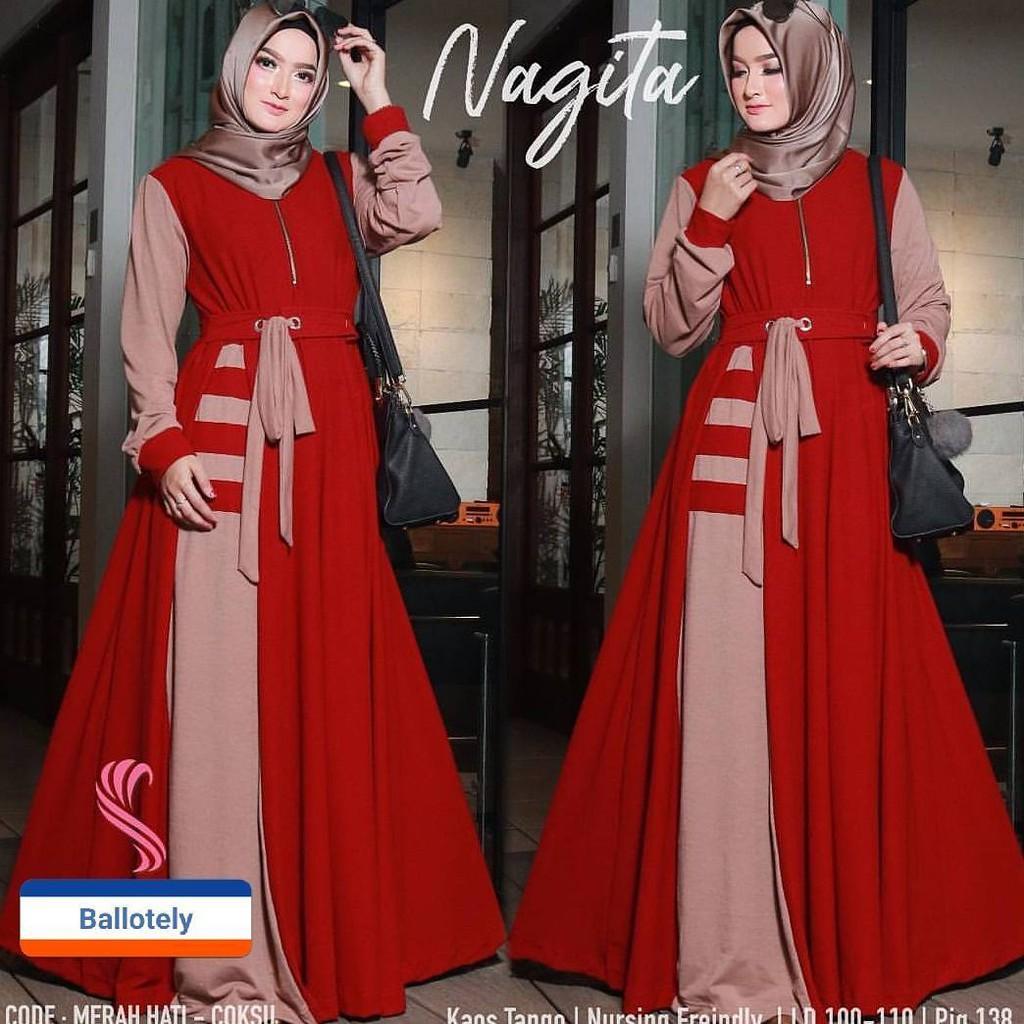GAMIS SYARI MURAH NAGITA DRESS MAROON / BAJU MUSLIM / GAMIS MUSLIM / BAJU MURAH / DRESS MUSLIM