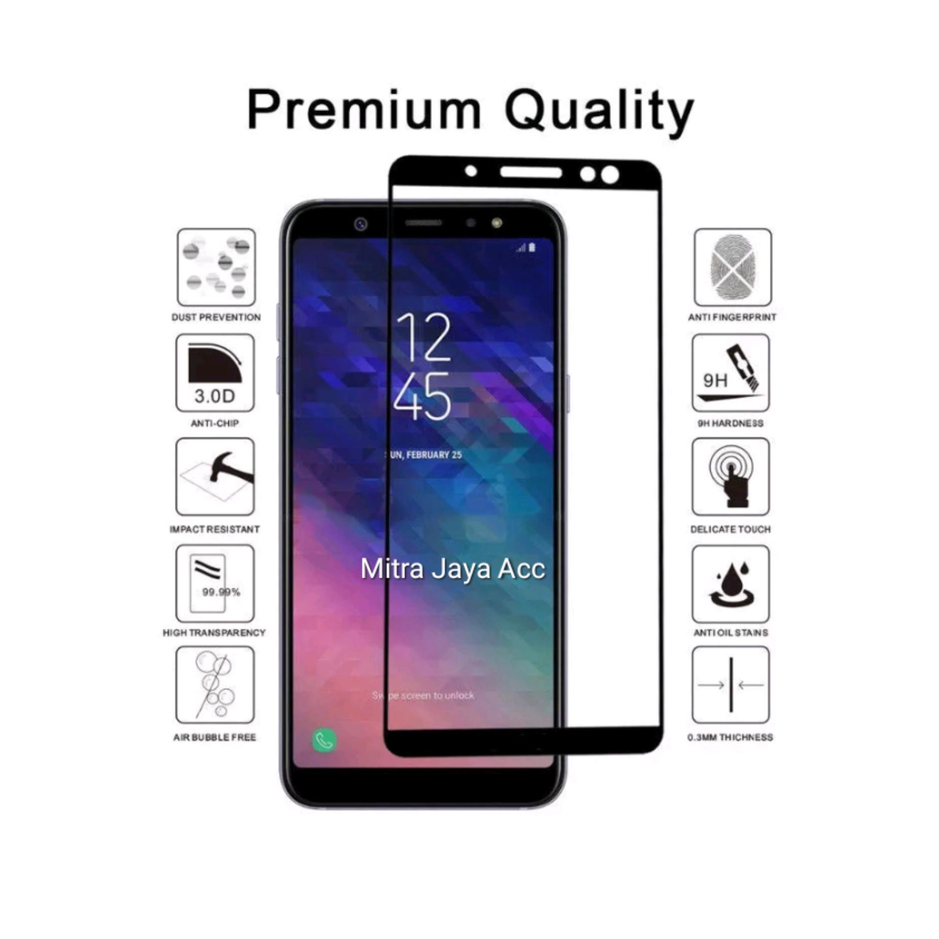 Premium Tempered Glass Samsung Galaxy J6 2018 Full Cover Screen 2 5D List Hitam