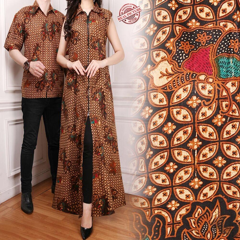168 Collection Couple Gamis Longdress Taylor dan Kemeja Batik Pria