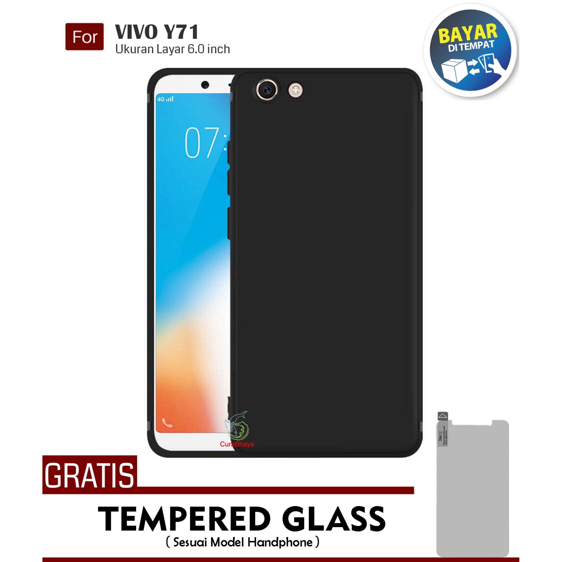 MidNight Vivo Y71 | Slim Case Black Matte Softcase Premium Baby Skin + Gratis Free Tempered