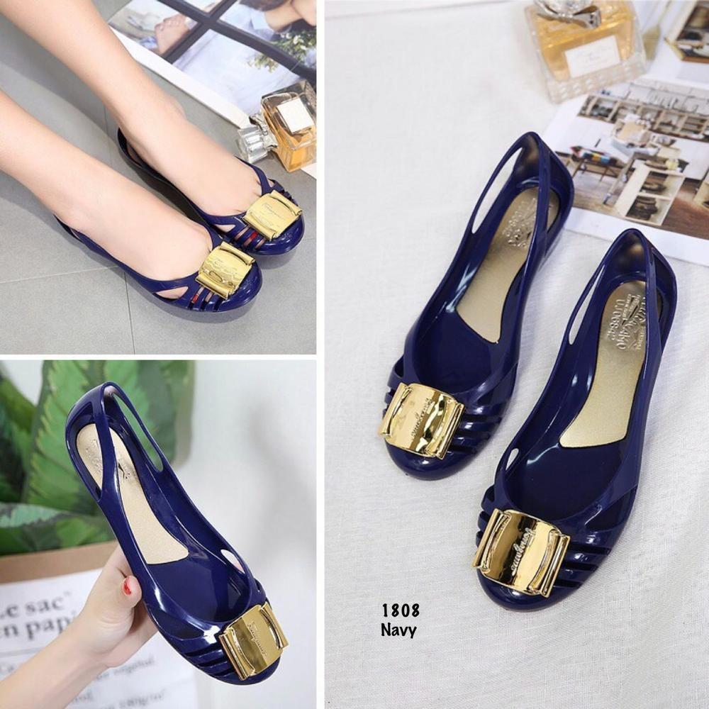 Jual Jelly Shoes Wanita Sepatu Flat Wanita Jelly Ferragamo Import Vio Id30 Warna Metalik Jelly Shoes Murah