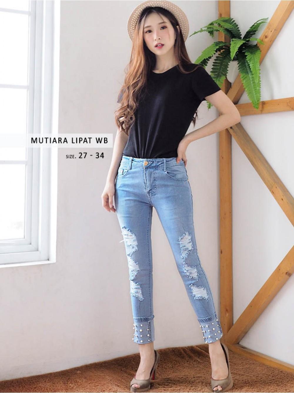 Fitur Celana Jeans Big Size Ripped Wanita Jumbo Mutiara Light Lipat Wb Uk 27 34