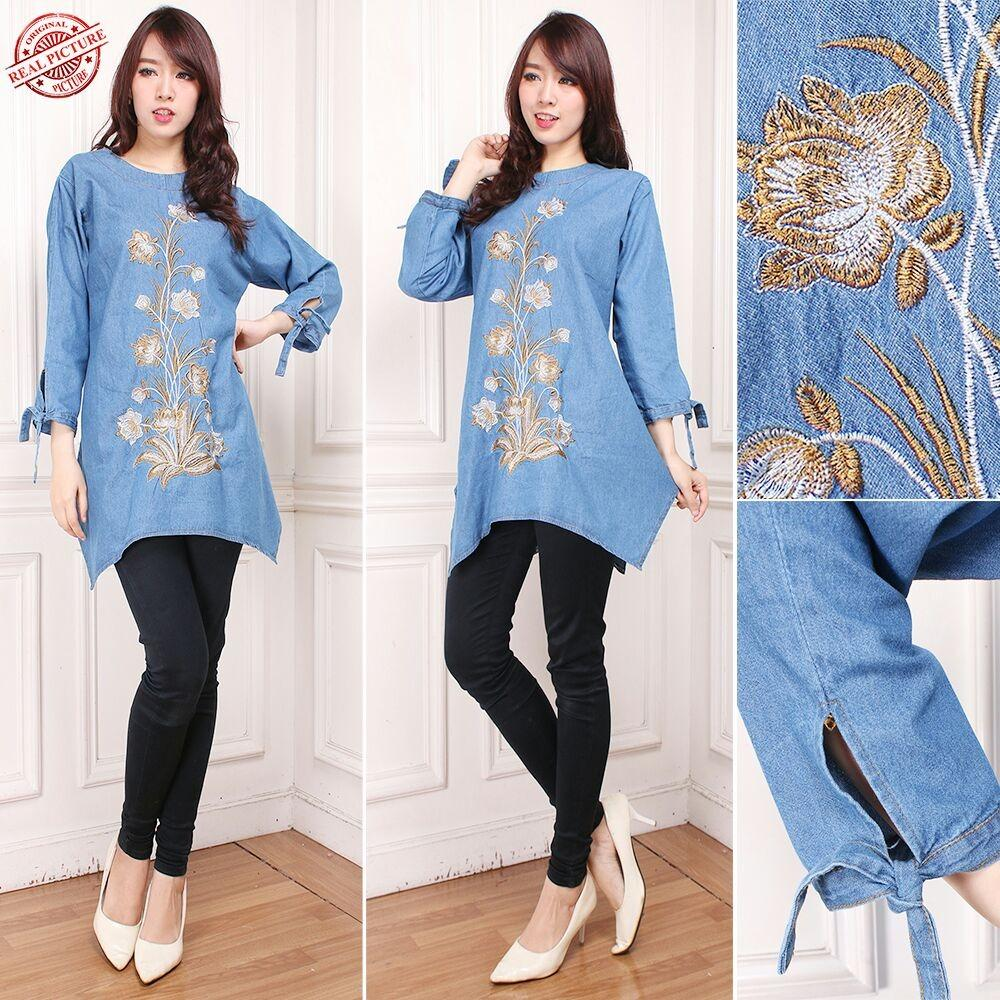 Beli Sb Collection Atasan Blouse Nurul Kemeja Jeans Jumbo Wanita Sb Collection Asli