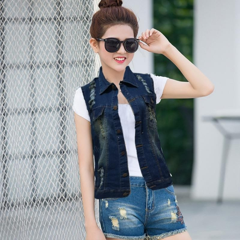 Toko Jfashion Rompi Jaket Jeans Washed Wanita Jacqline Indonesia