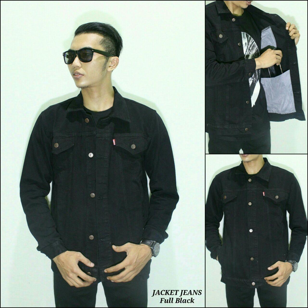 MFM jaket jeans pria hitam