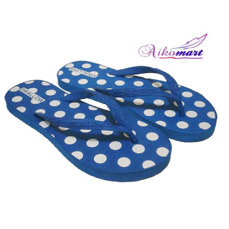 Aikomart Sandal Jepit Wanita Swallow Nice Polkadot Warna Biru Size 10