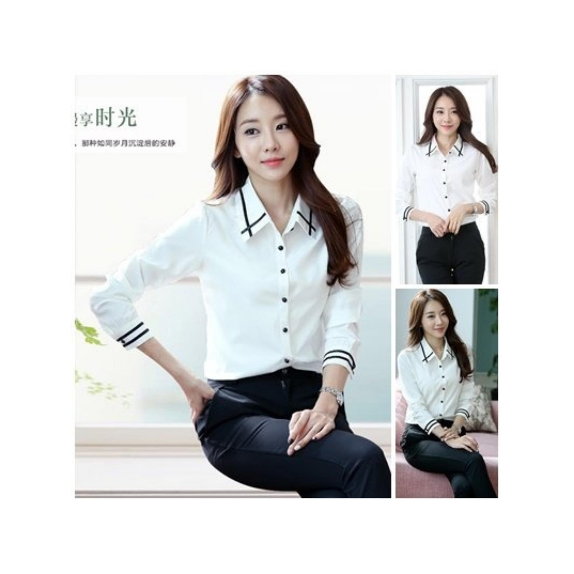 DeluxeBrand Hem Angel White / Baju Wanita / Blouse Korea / Atasan Wanita / Baju Formal