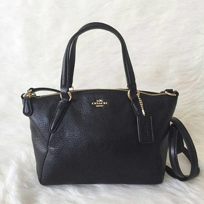 Coach Mini Kelsey Black Leather. Tas Coach Original