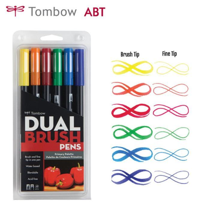 PROMO Tombow Dual Brush Pen ABT Primary Color Set 6 / Tombow Set 6 TERLARIS