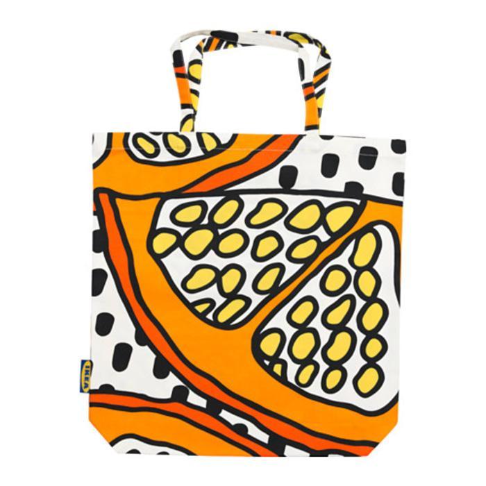 IKEA TREBLAD Tas Kain, oranye, putih hitam, Tote bag, shopping bag