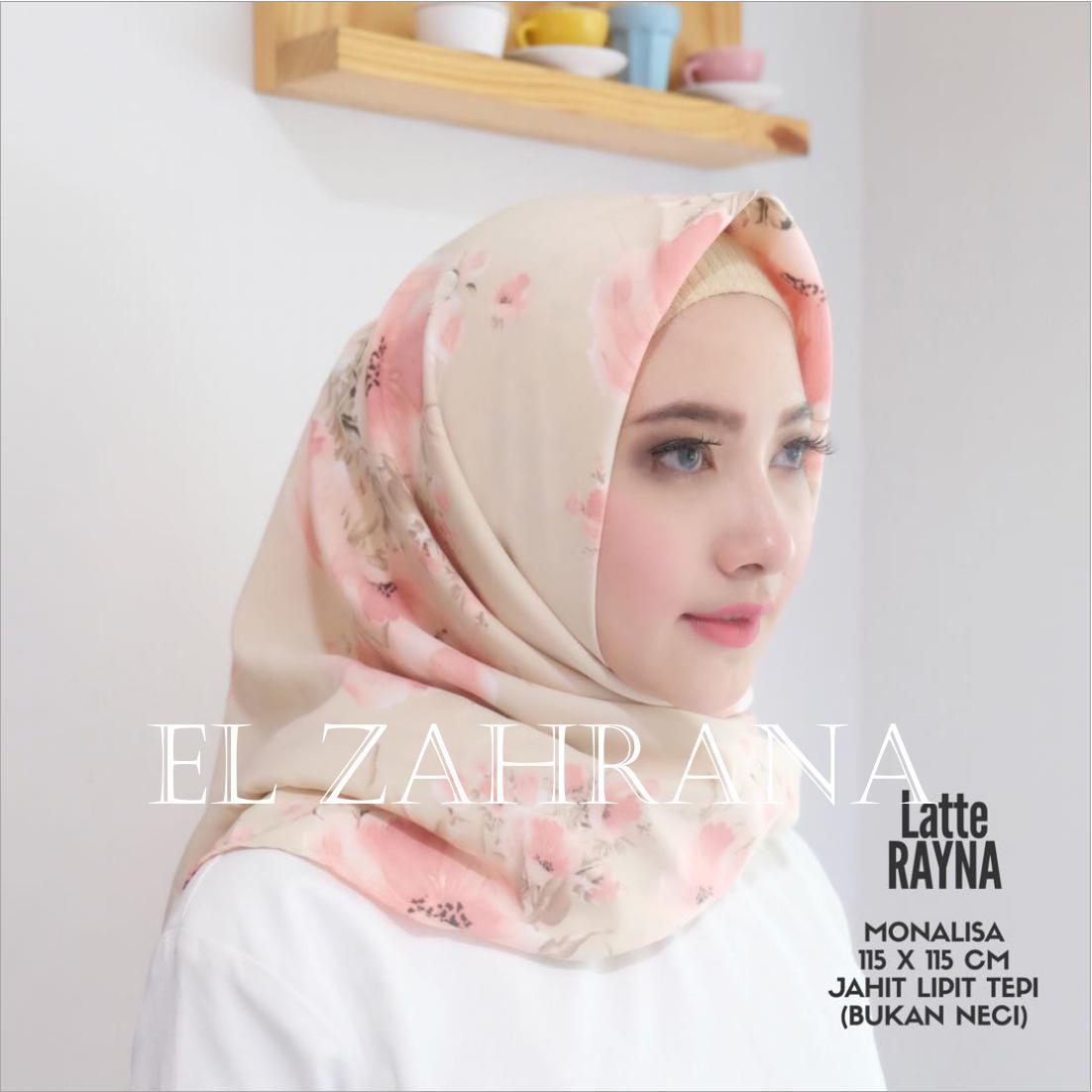 Model El Zahrana Hijab Square Kerudung Segi Empat Jilbab Motif Premium Monalisa Terbaru
