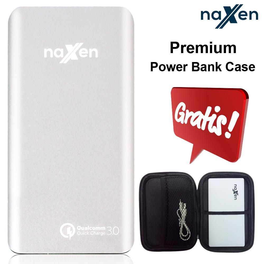 Naxen Power Bank Slim Metal Real Capacity 10000mAh 18W Quick Charger 3.0 Qualcomm Charger Dual USB