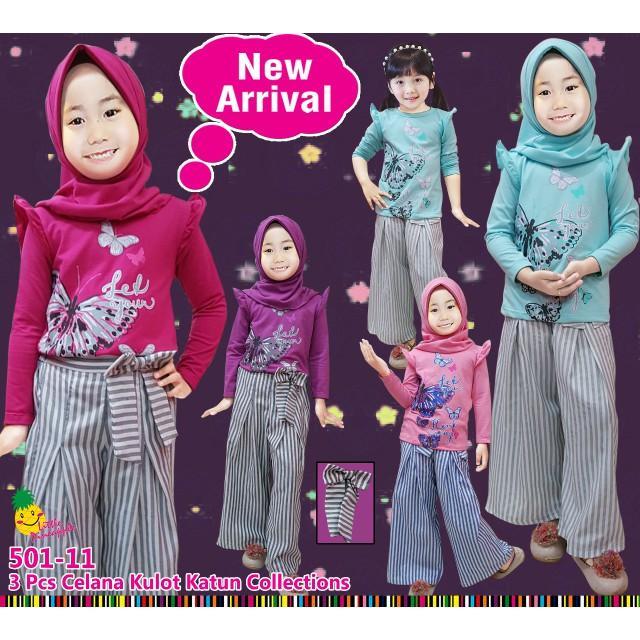 Promo Baju Setelan Muslim Anak Perempuan LP Kupu Celana Kulot Katun Garis Limited