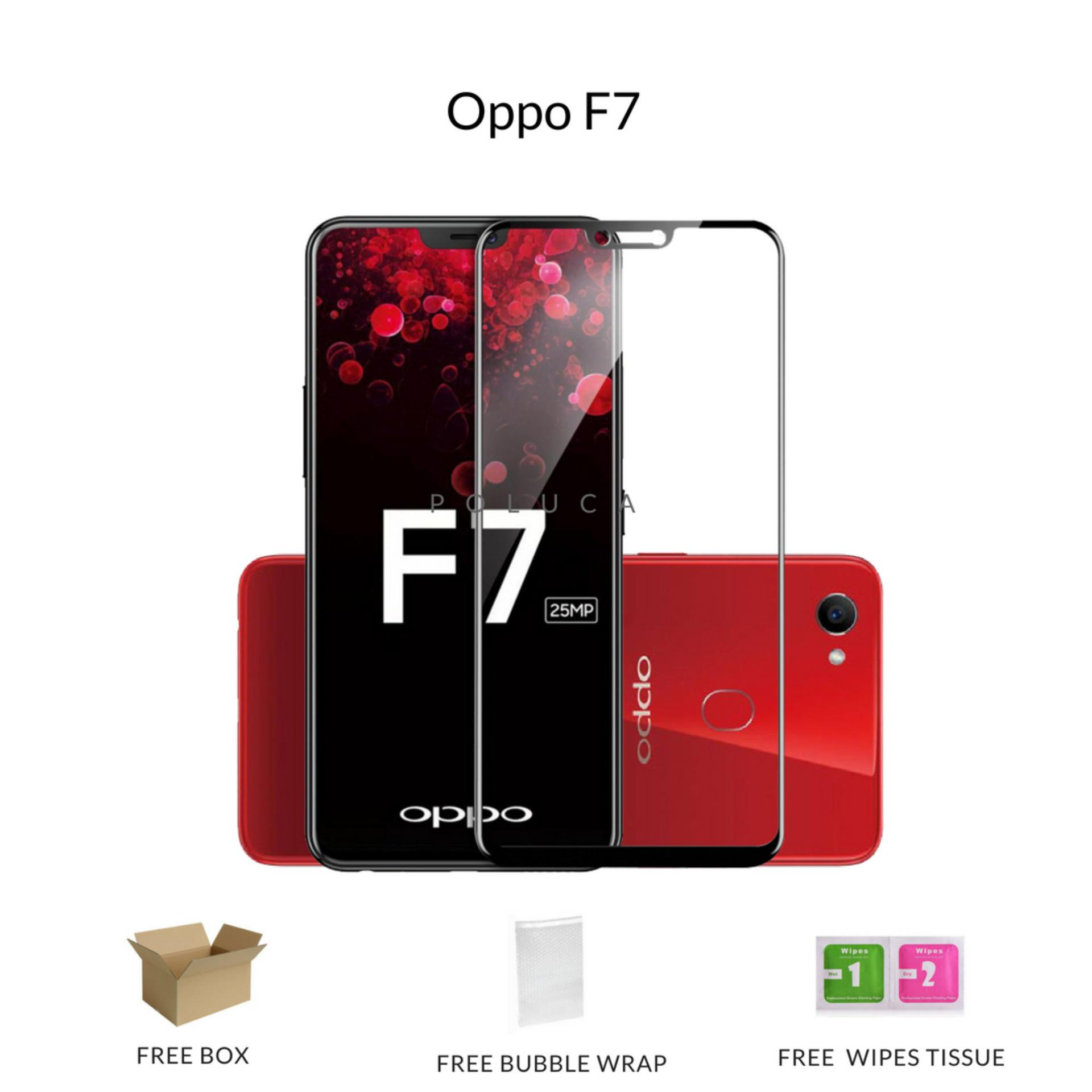 Poluca Tempered Glass Screen Protector Full Cover Warna For OPPO F7 - Black