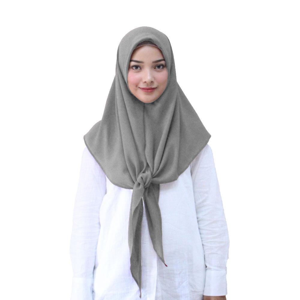 Segitiga Hijab Kerudung Instan - [Warna Abu Tua]