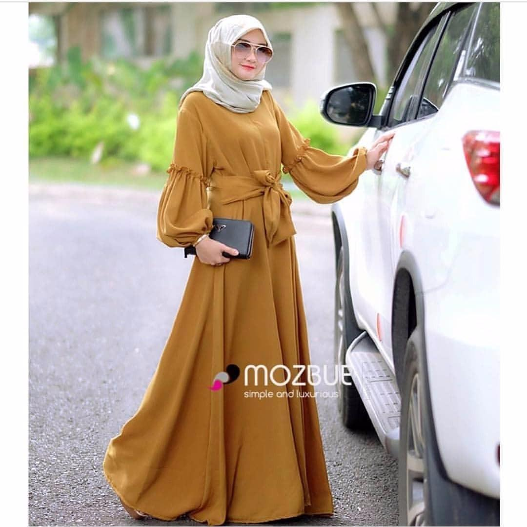 Review Baju Original Gamis Brenda Dress Baju Panjang Muslim Casual Wanita Pakaian Hijab Modern Modis Trendy Terbaru 2018 Mustard