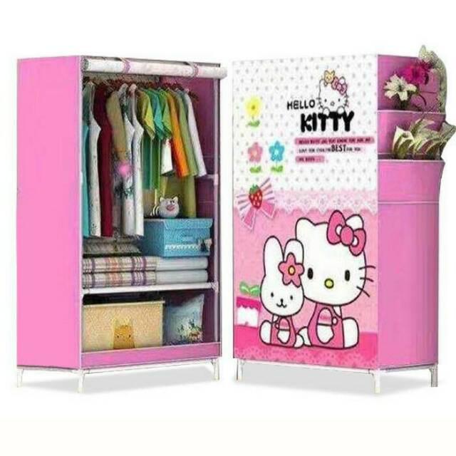 PRISILA R01 HELLO KITTY MELODY Lemari Pakaian Portable Rakit Single Rak Murah Non Woven Fabric