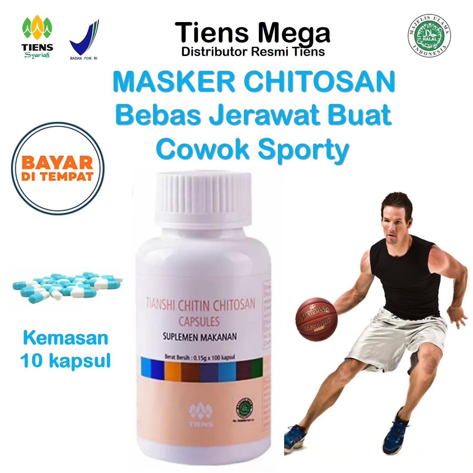 Tiens Chitosan Masker Anti Jerawat Buat Cowok Sporty - Paket Promo Banting Harga 10 Kapsul +