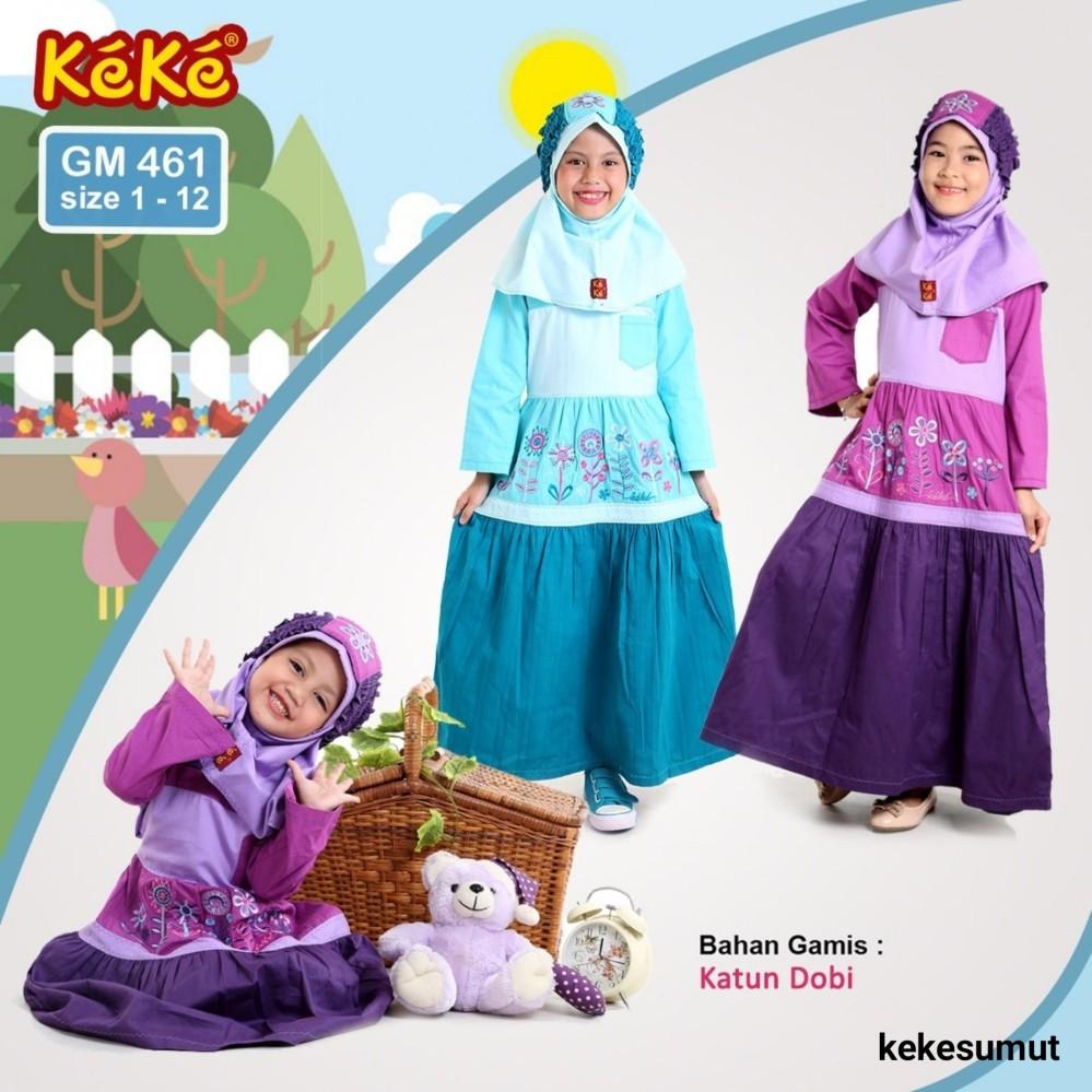 Kekesumut / Baju Gamis / Gamis Katun / Gamis Anak perempuan / GM 461 / size 8 / gamis 8 tahun / Pusat Grosir / Busana Muslim / Keke / Branded / Original / Discount /