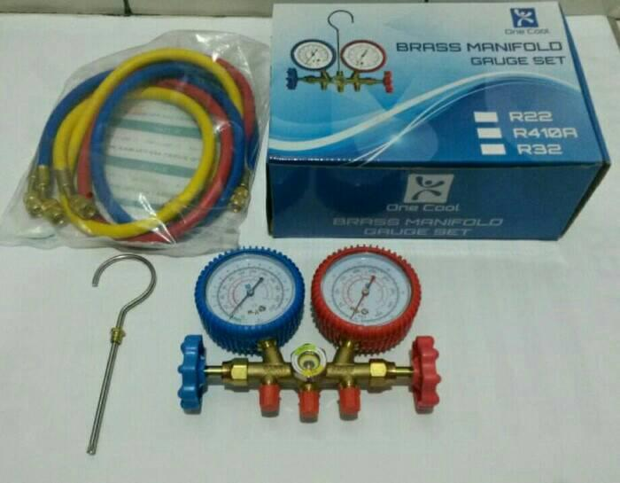 One Cool Brass Manifold Gauge Set. Alat Isi Freon AC R22 R32 R410a