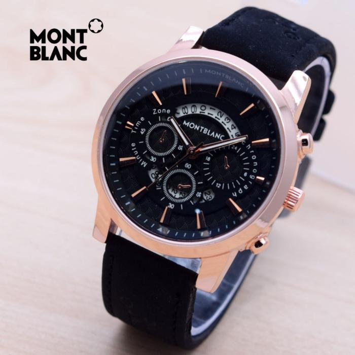 Jam Tangan Pria / Cowok Montblanc Texas Leather Black Rose