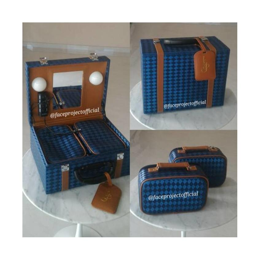 Koper Make Up Case , Beauty Case , Kotak Tas Kosmetik Box (Persegi) Biru