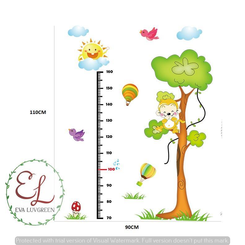 ... Eva Luvgreen Wallsticker Anak Pengukur Tinggi Badan Monkey Ukuran 60x90cm/ Stiker Dinding/ Stiker Tembok