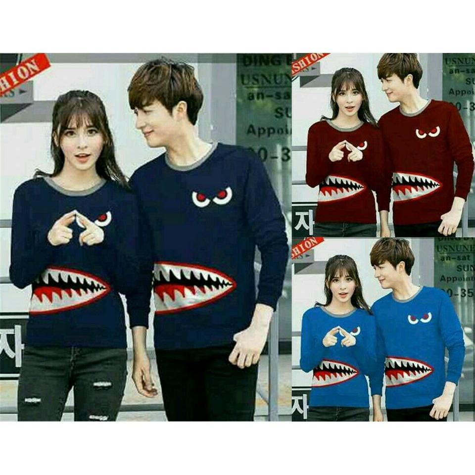 Review Legionshop Sweater Pasangan Sweater Couple Baju Pasangan Baju Lengan Panjang Baju Couple Shark Harga 2 Sweater Legionshop