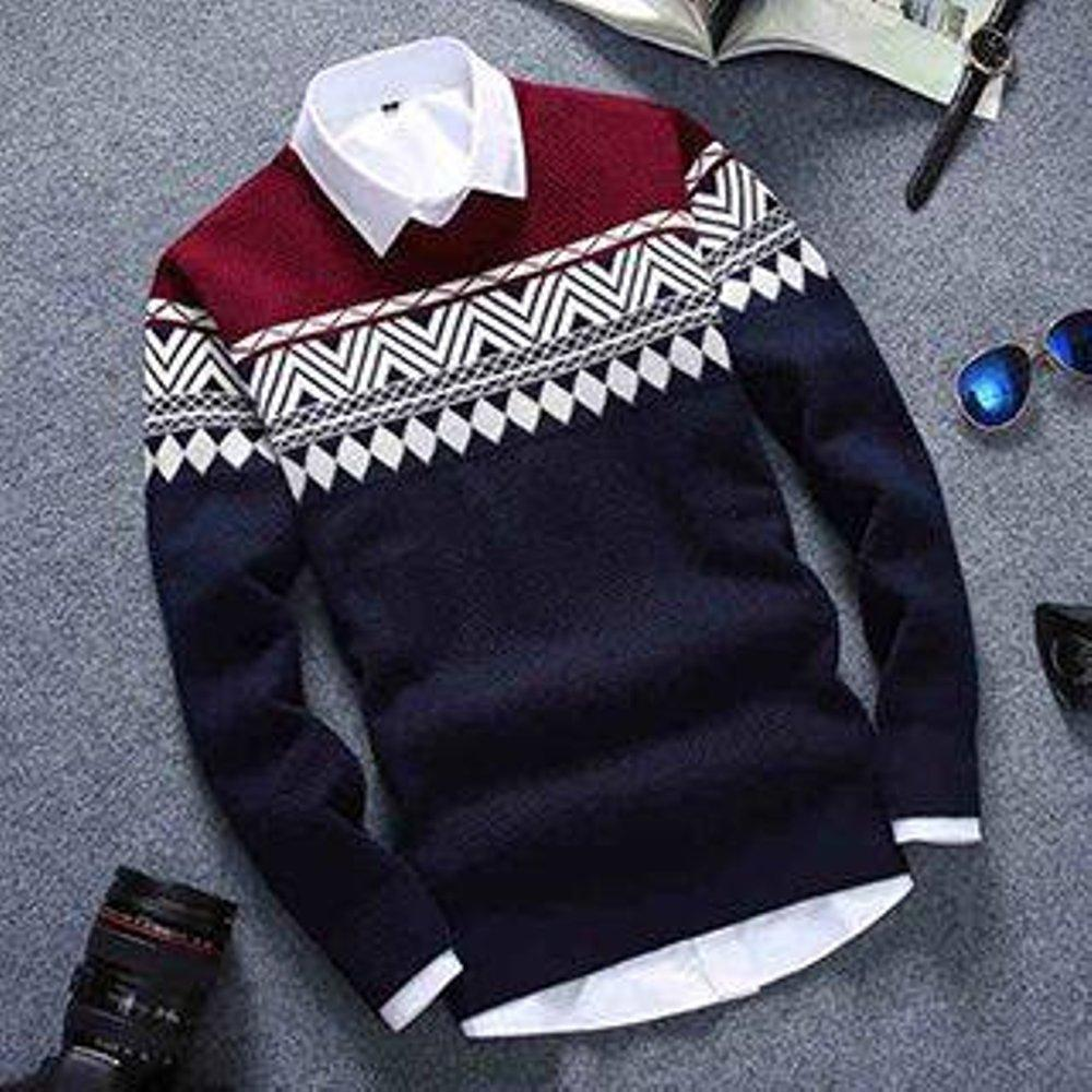 sweater rajut tribal-colombus navy