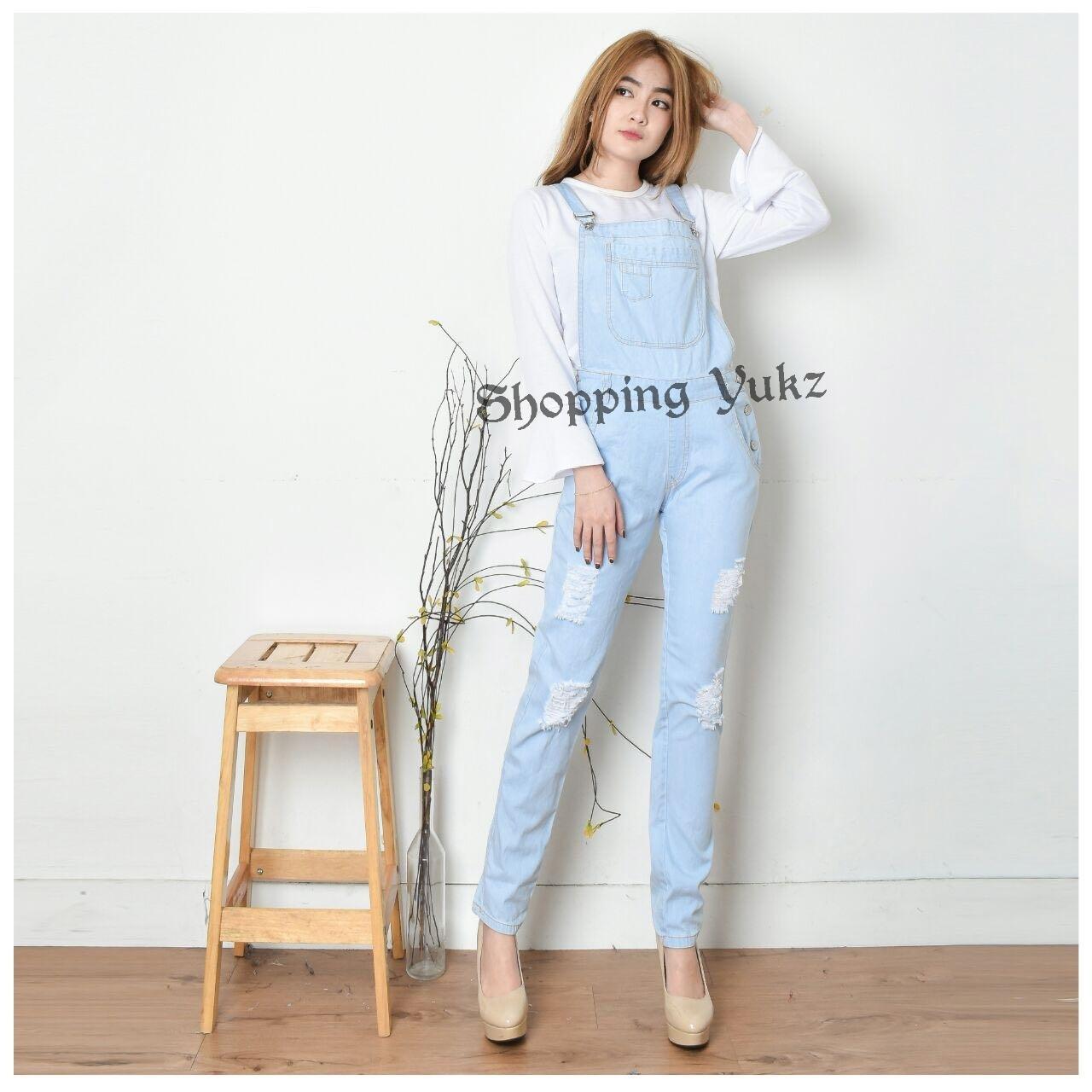 Shopping Yukz Overall Jumpsuit Jeans Denim  Wanita ENMA ( Tanpa Inner ) - SOFT BLUE /Baju Kodok Jeans /Jumpsuit Jeans/ Ripped Jeans/Jumpsuit Denim Wanita/Jumpsuit Remaja/Jumpsuit Murah/Jumpsuit Terusan/Jumpsuit Panjang/Jumsuit Wanita/Jumsuit Denim