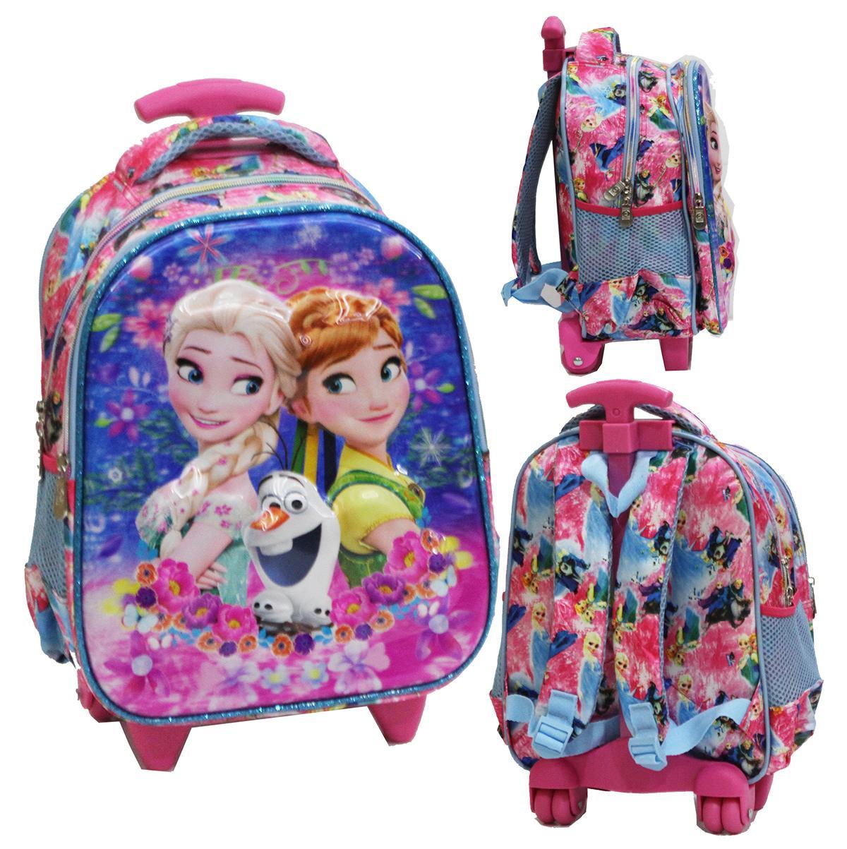 Onlan Tas Trolley Anak Sekolah TK Karakter Anak Perempuan Frozen 5D Timbul Import