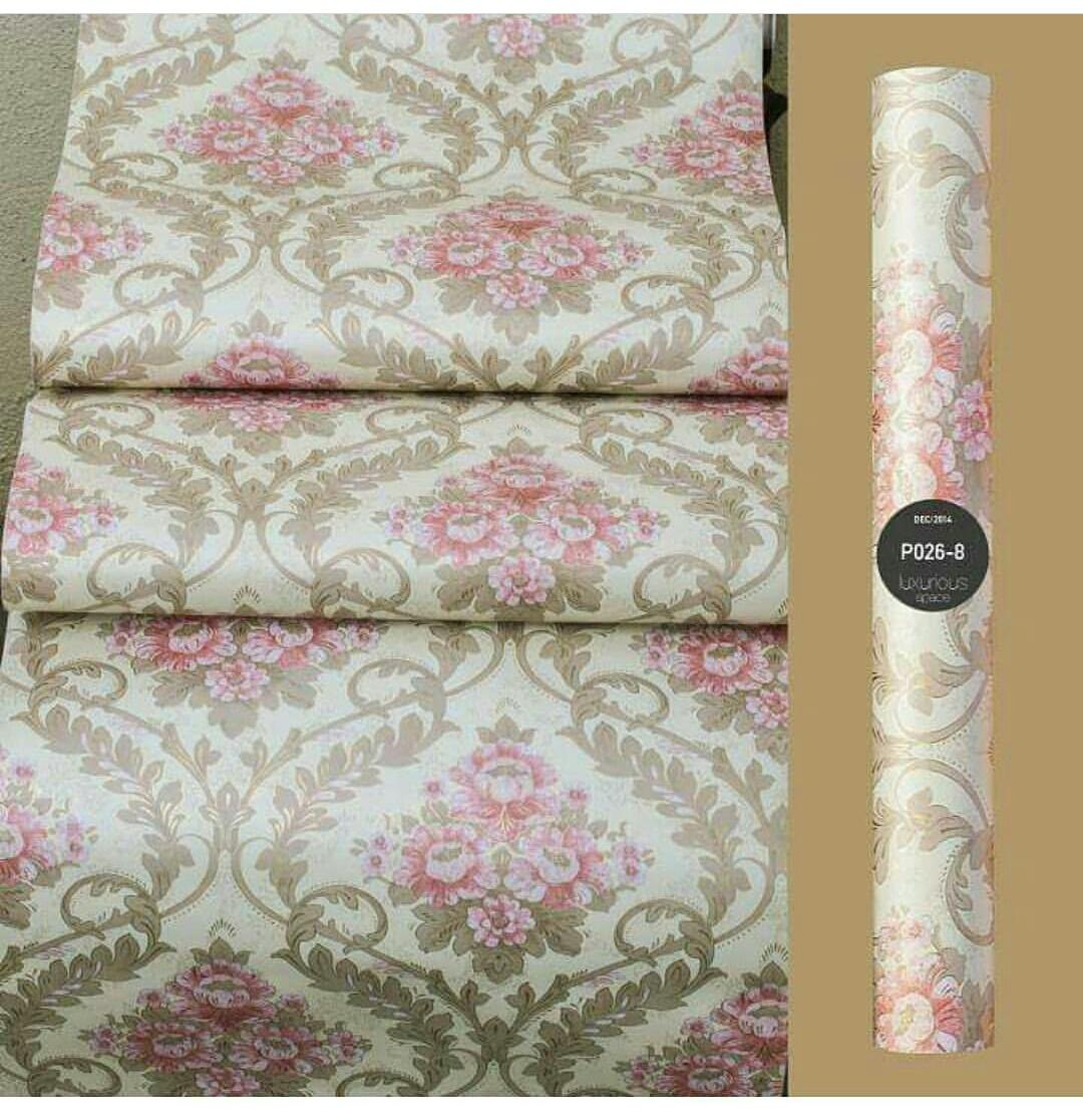 Stiker Wallpaper Dinding - Elegant Wallpaper Sticker (Size 45cm X 10M) - Batik Cream