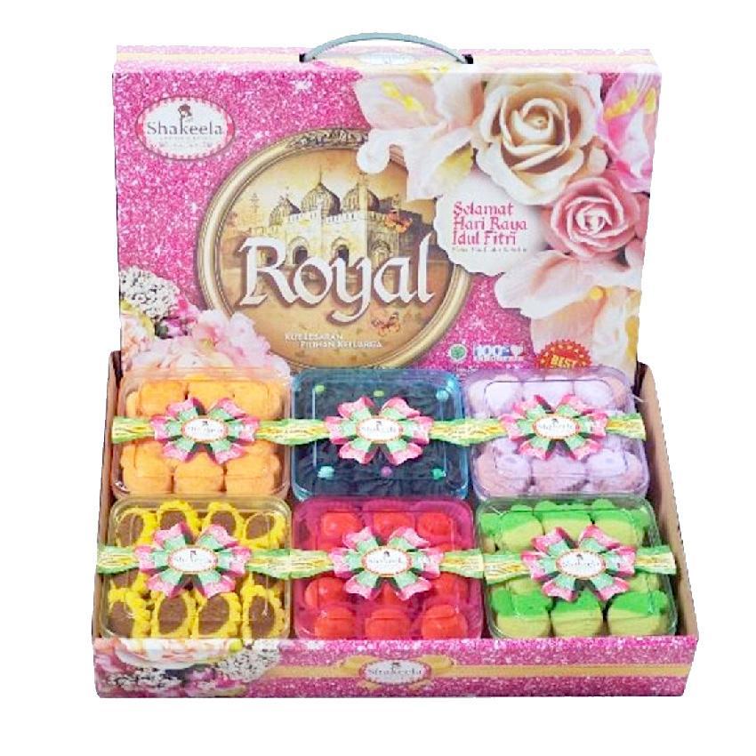 Shakeela Bellarosa ROYAL Kotak 2018 paket Kue Kering parcel lebaran Idul fitri 6in1