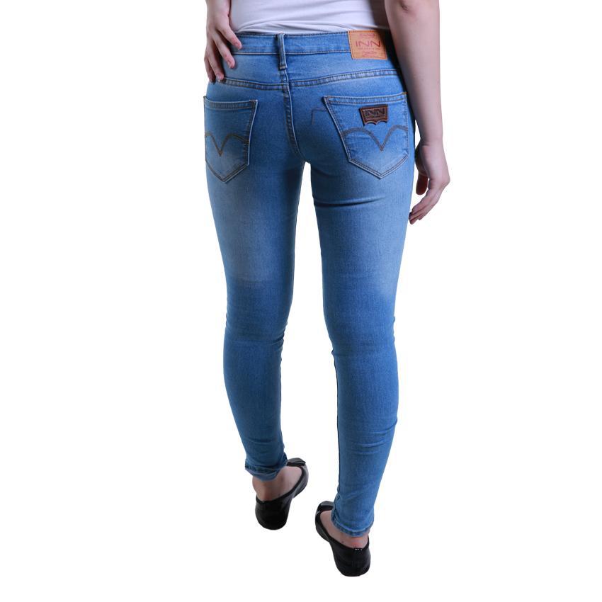 Gambar Produk Rinci Nusantara - Celana Jeans Wanita Model Skinny Basic - IIN Denim Ritsleting Ripped New Color Denim Terkini